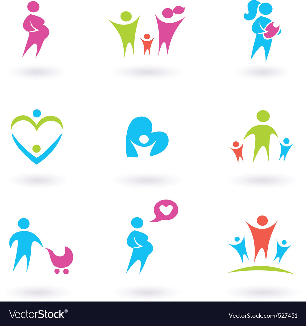 Family and pregnancy icons vector