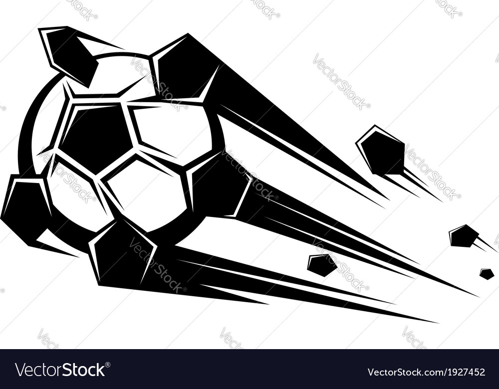 Speeding soccer ball loosing its pentagons vector