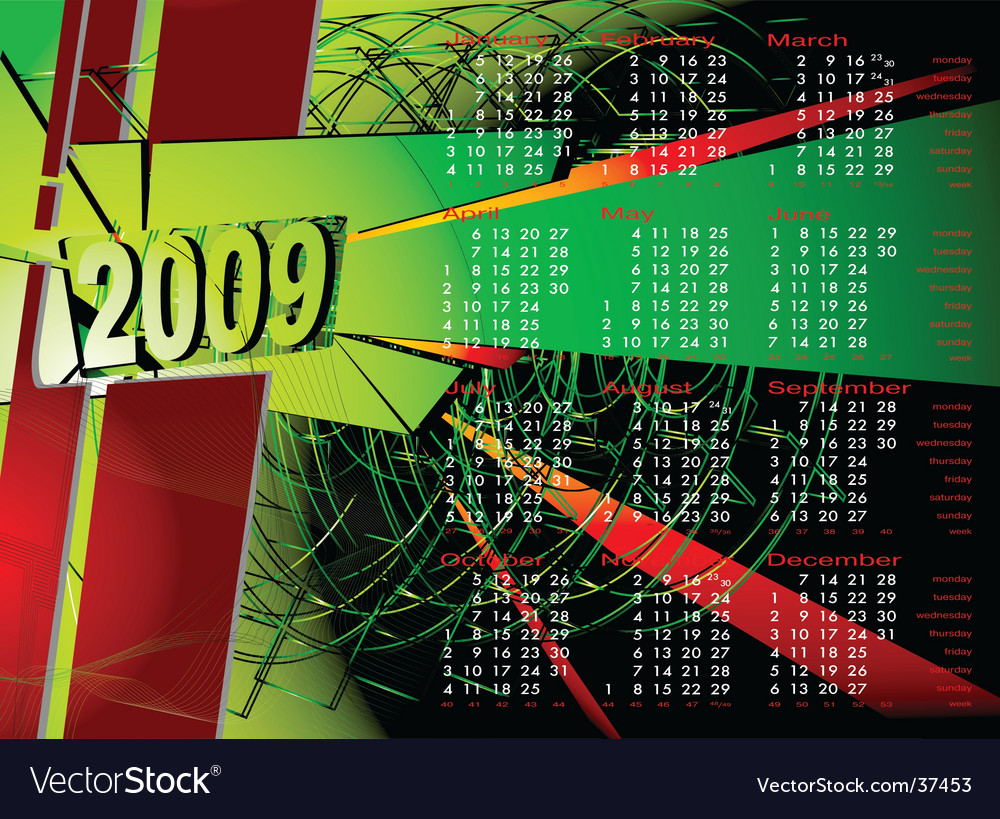2009 calendar to see similar vector