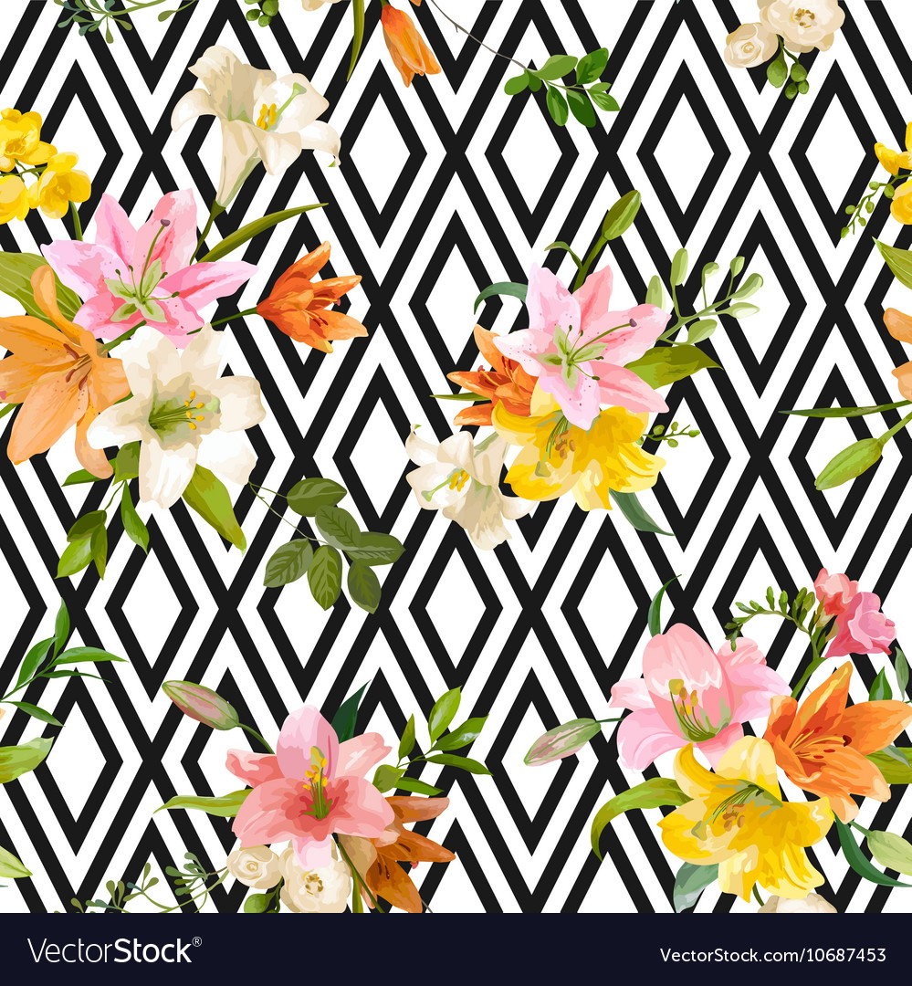 Spring lily flowers backgrounds  seamless pattern vector