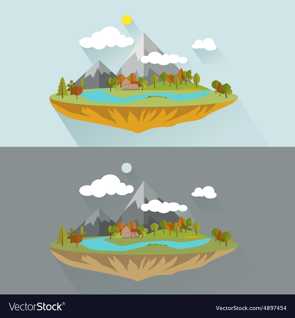 Natural landscapes in a flat style on blue vector