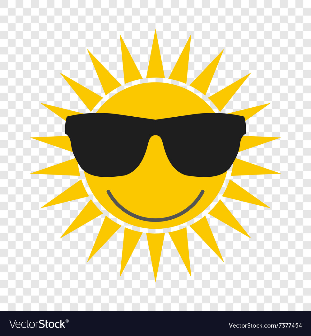 Sun with glasses icon vector