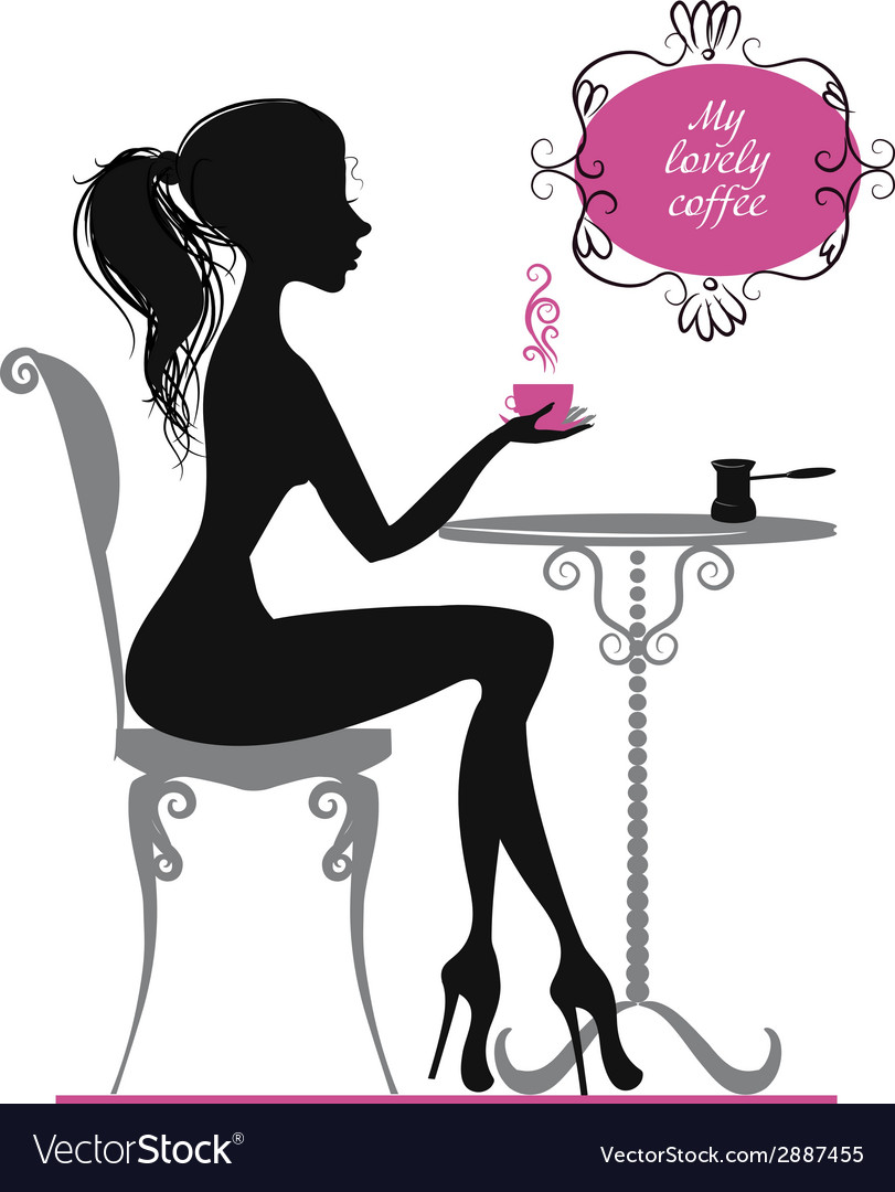 Silhouette of a girl with cup of coffee vector