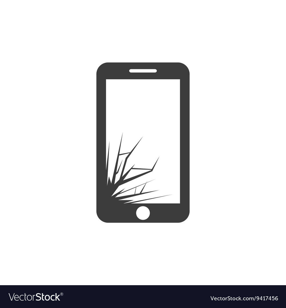 Black broken screen phone icon vector