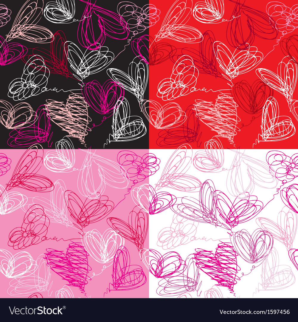 Seamless pattern with hand drawn scribble hearts vector