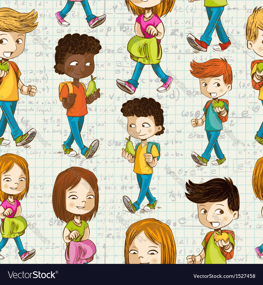 Back to school cartoon kids education seamless vector