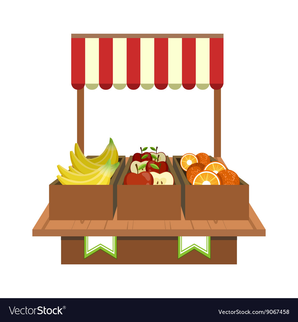 Fruit stand on the market vector
