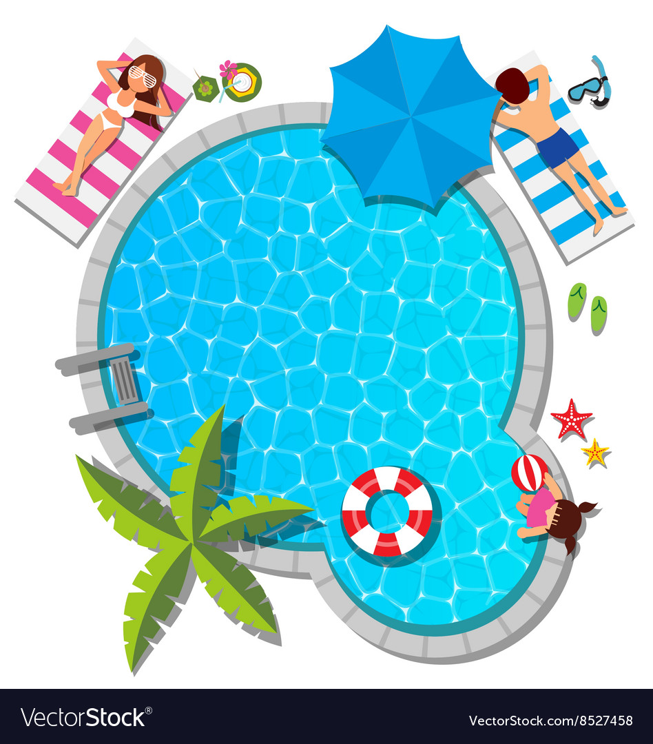 Young family relaxing at swimming pool for summer vector