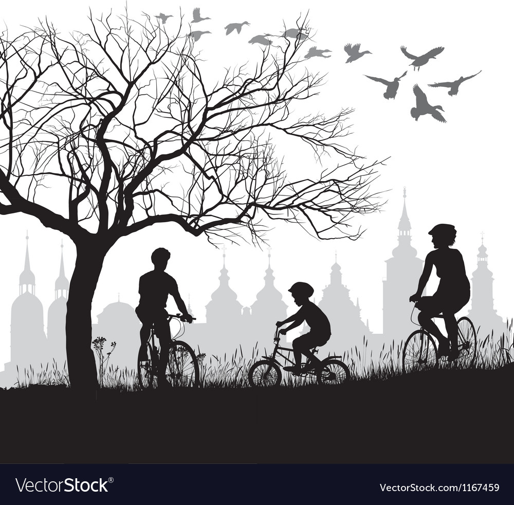 Family on bicycle trip out of town vector