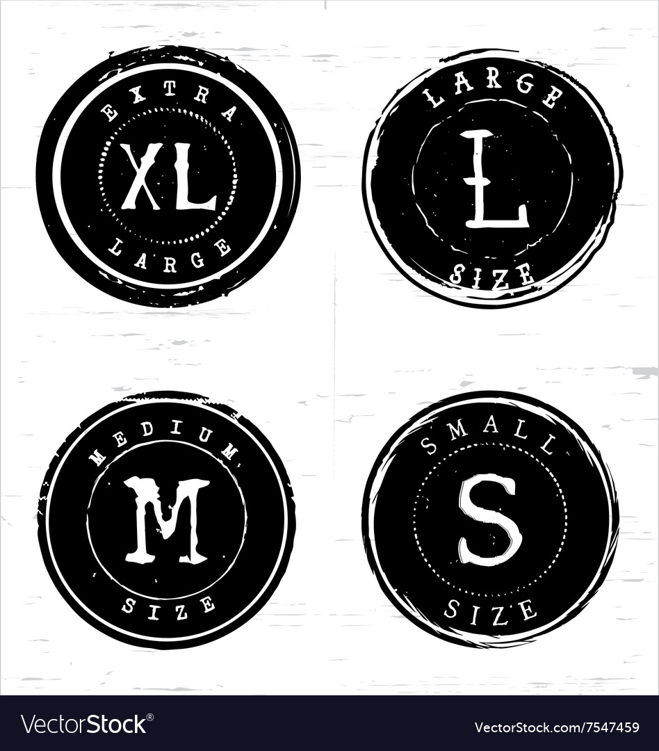 Rough rounded size labels vector