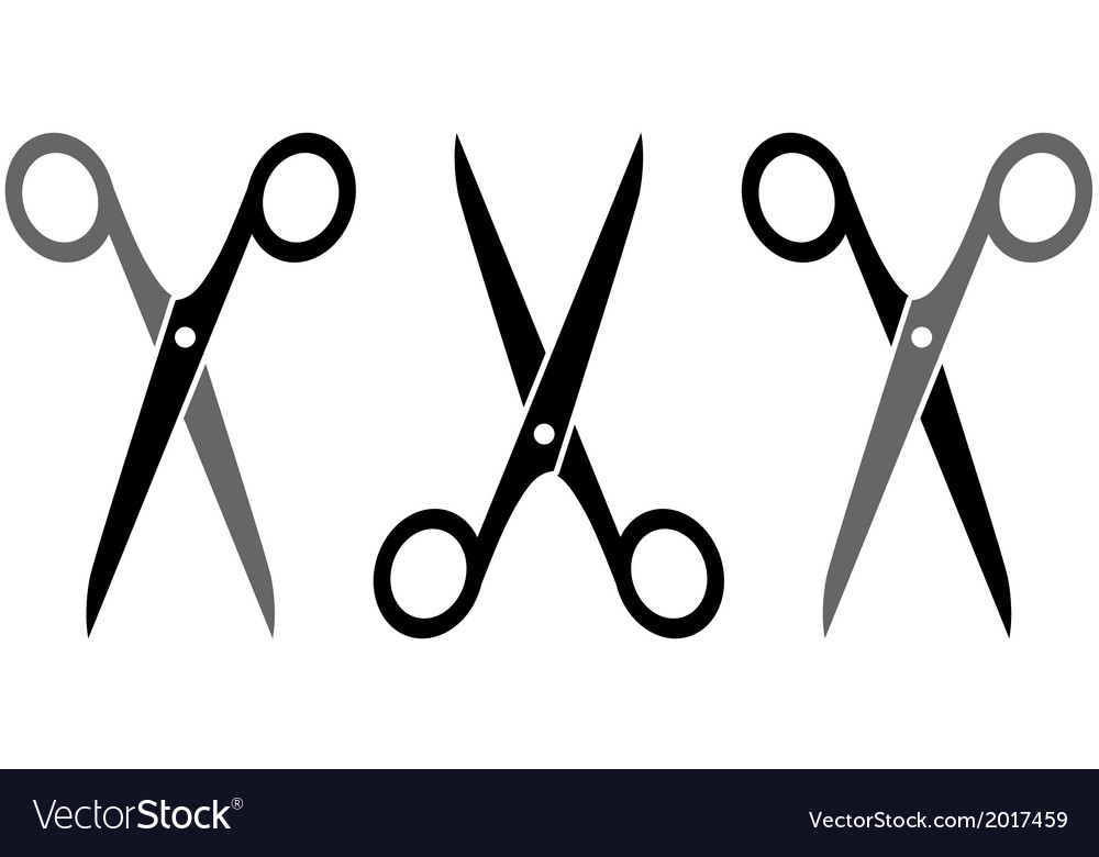 Set three scissors vector