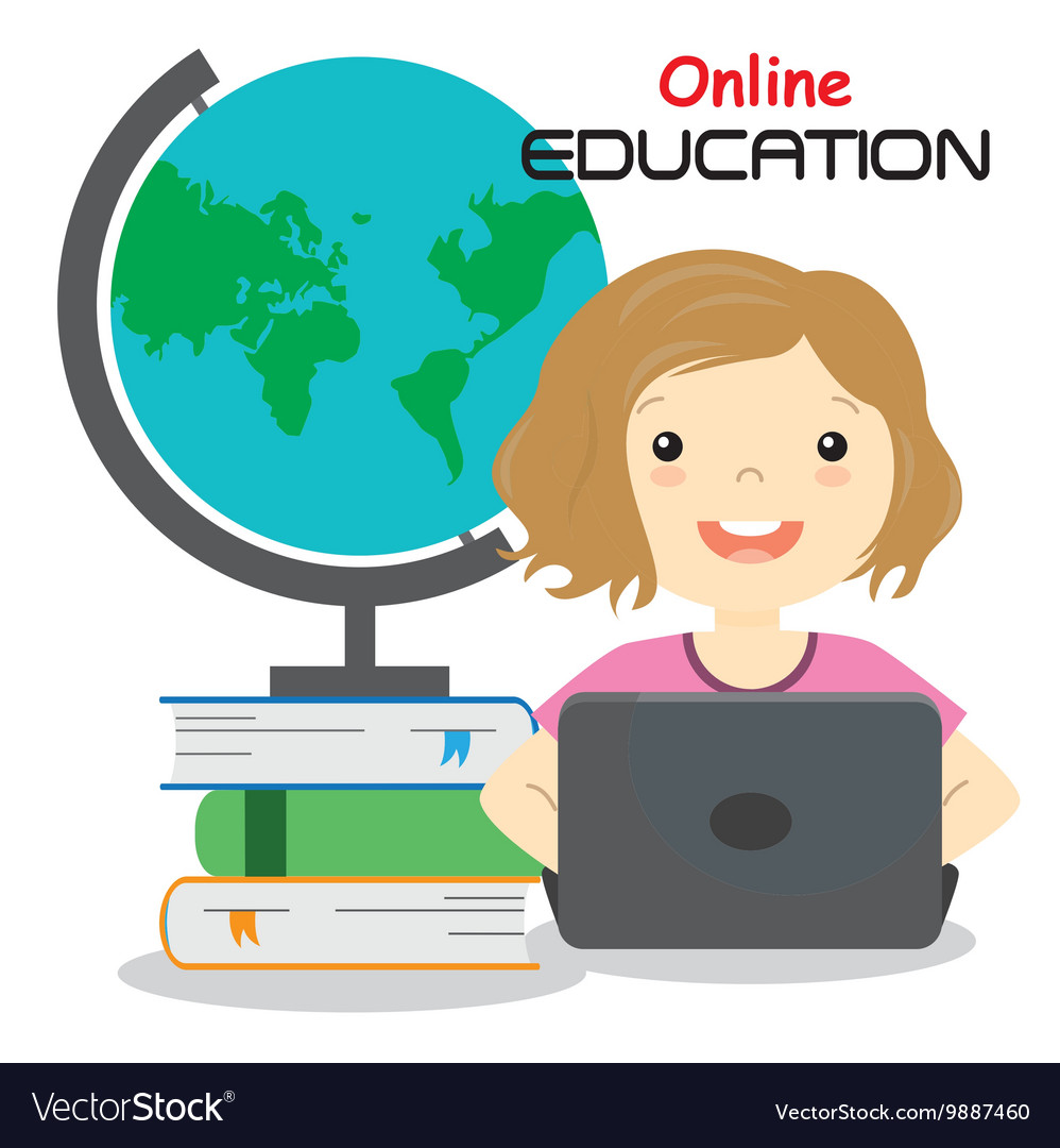Girl with computer studying online vector