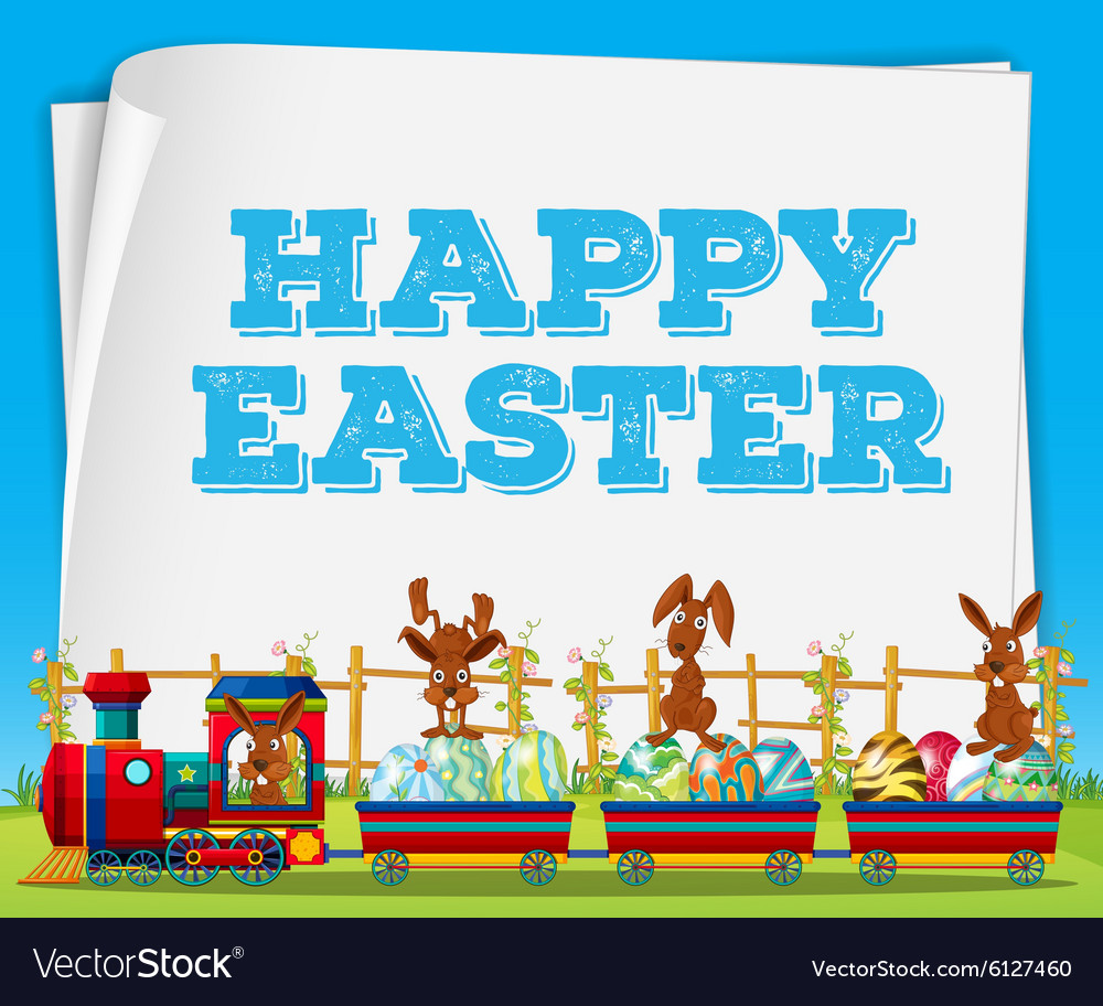 Happy easter poster with rabbits on train vector
