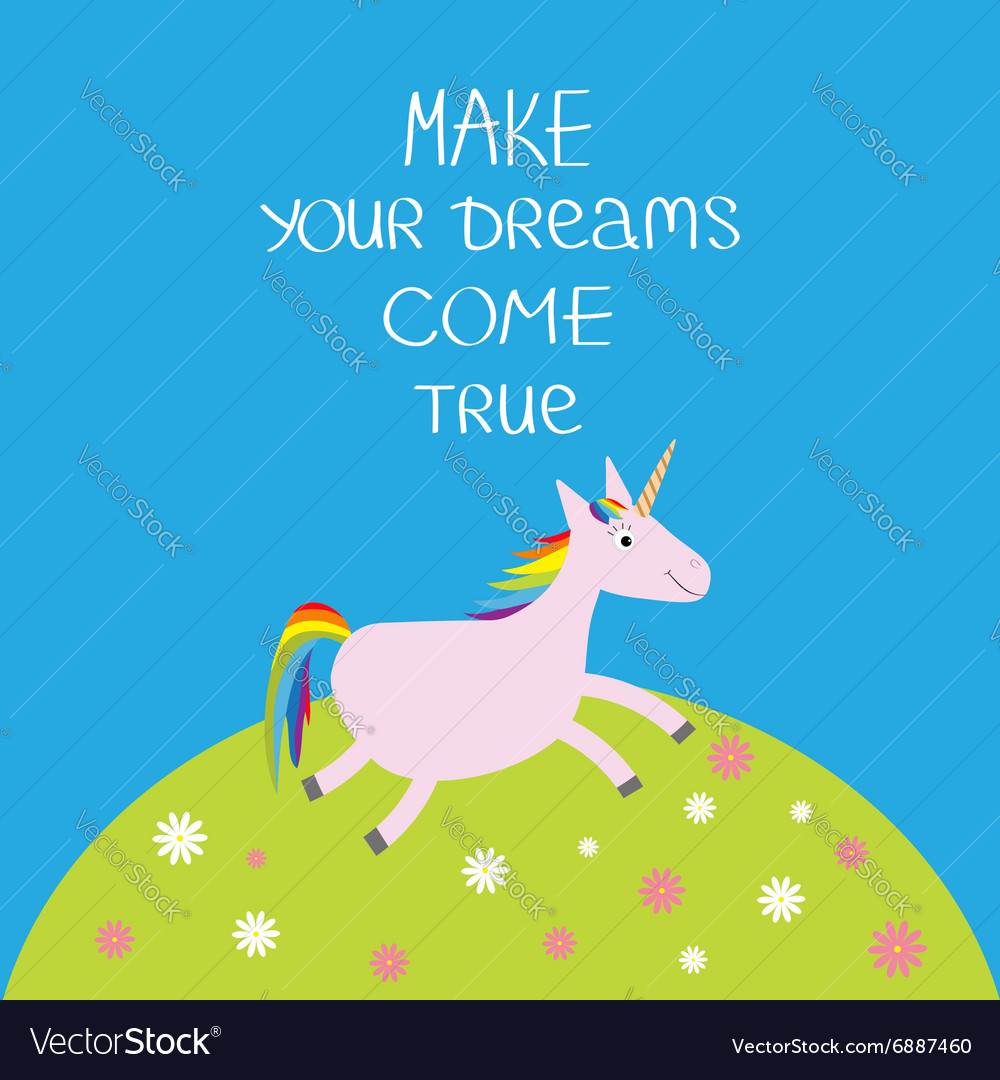 Unicorn daisy chamomile field make your dreams vector