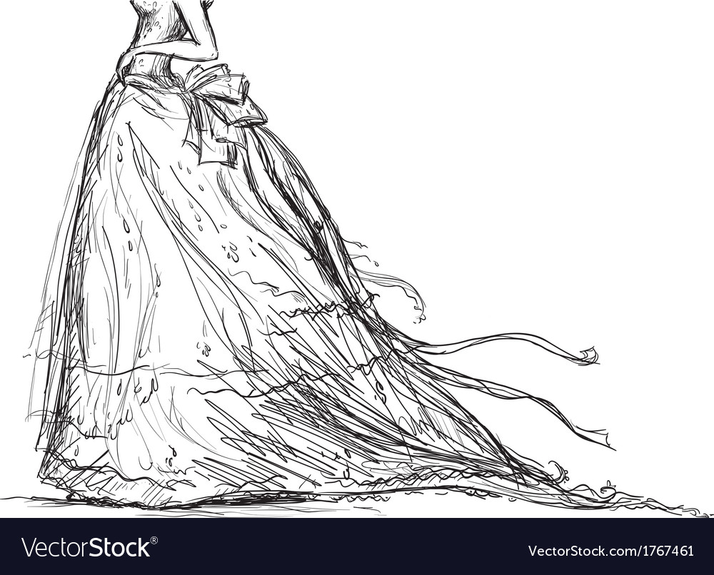 Bridal dress drawing vector