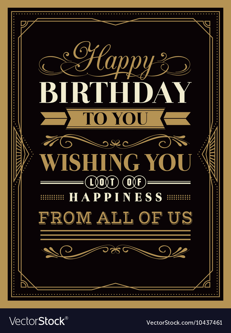 Vintage frame happy birthday card typography vector