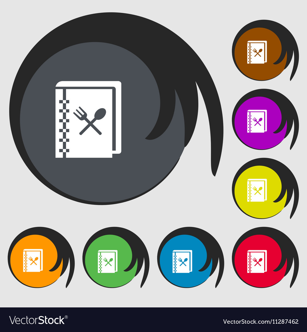 Cook book icon sign symbols on eight colored vector