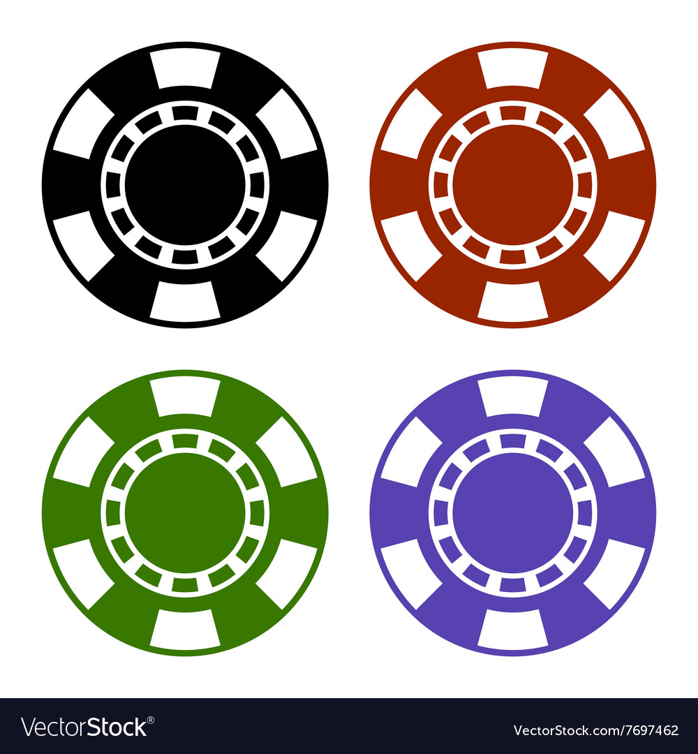 Empty color casino poker chips set vector