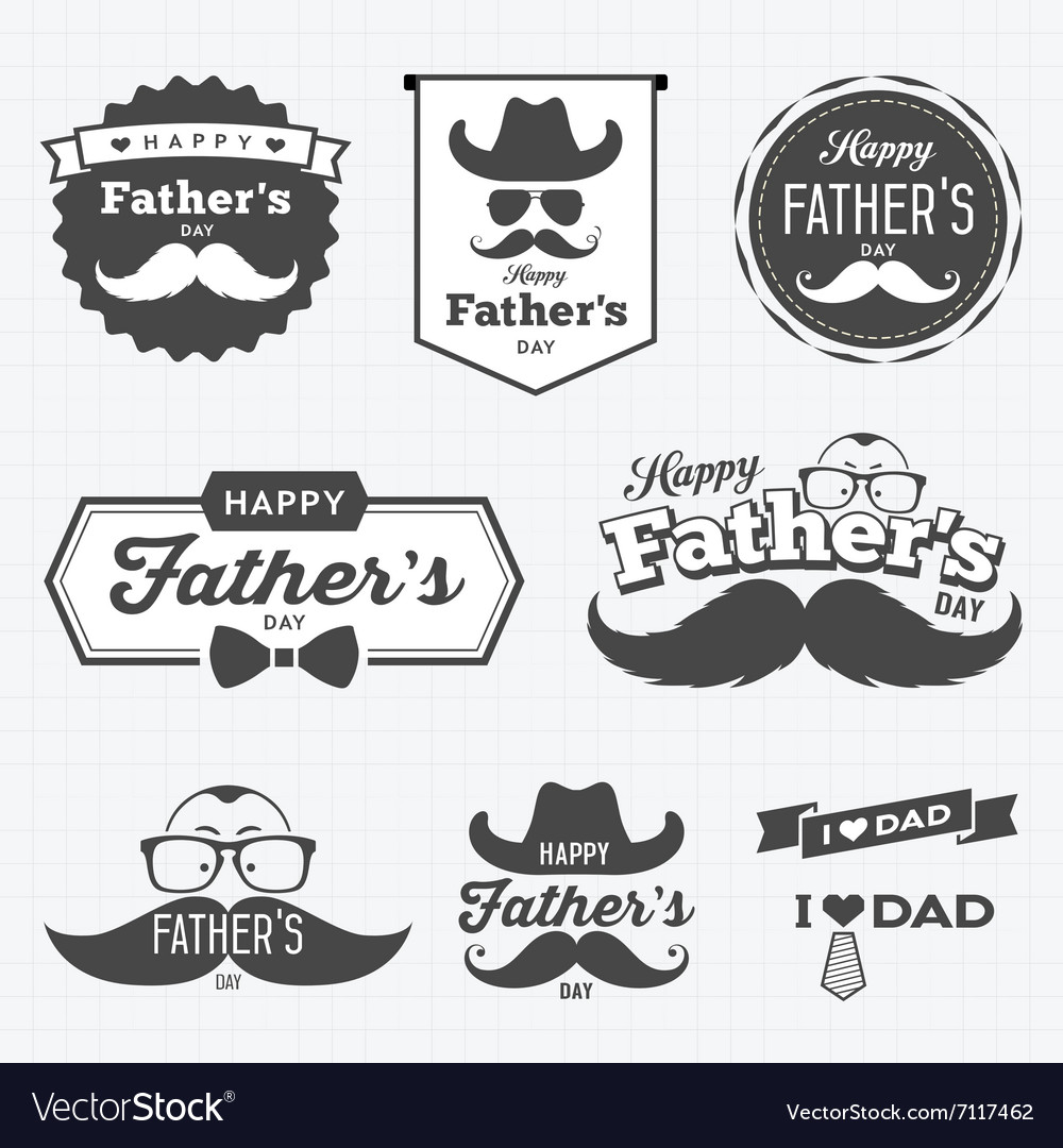 Happy father day labels logo black and white vector