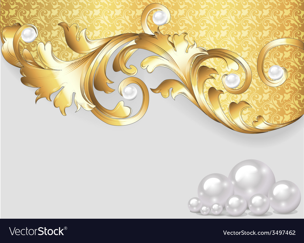 Horizontal background with gold ornaments vector
