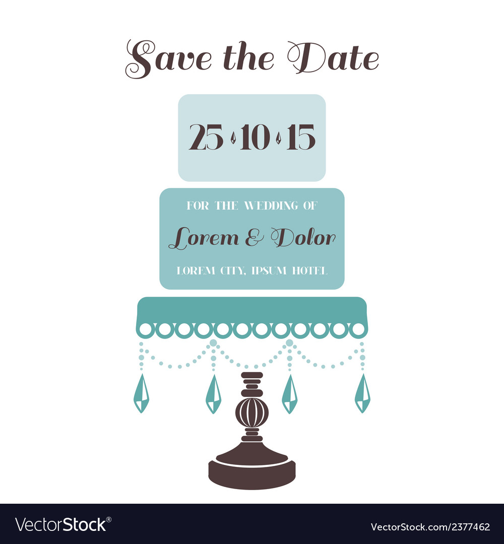 Wedding cake invitation  save the date vector