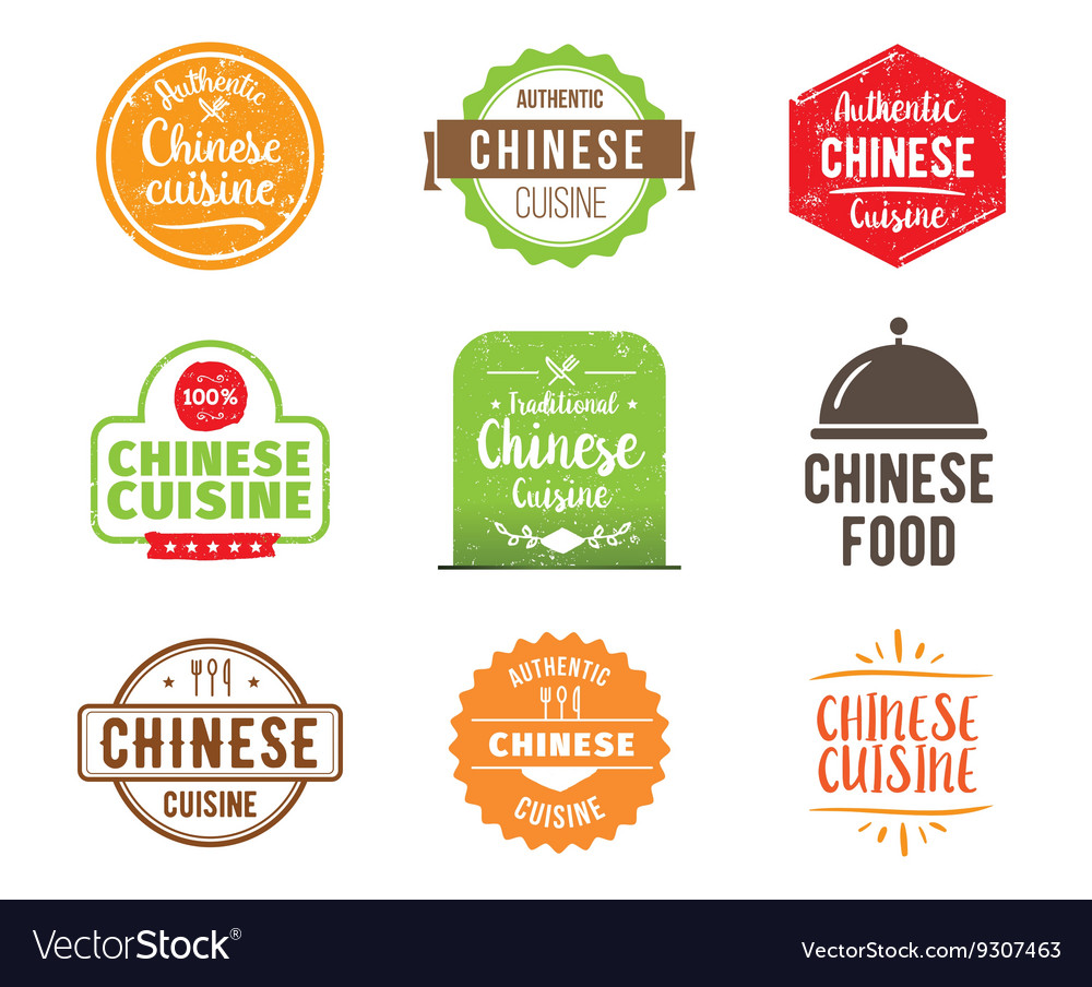 Chinese cuisine label vector
