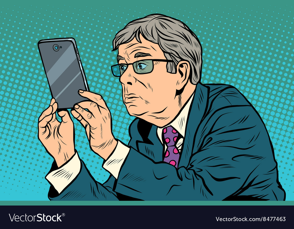 Funny man taking pictures with smartphone vector