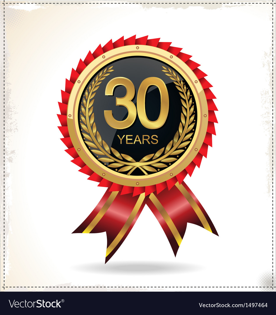 30 years anniversary golden label with ribbon vector