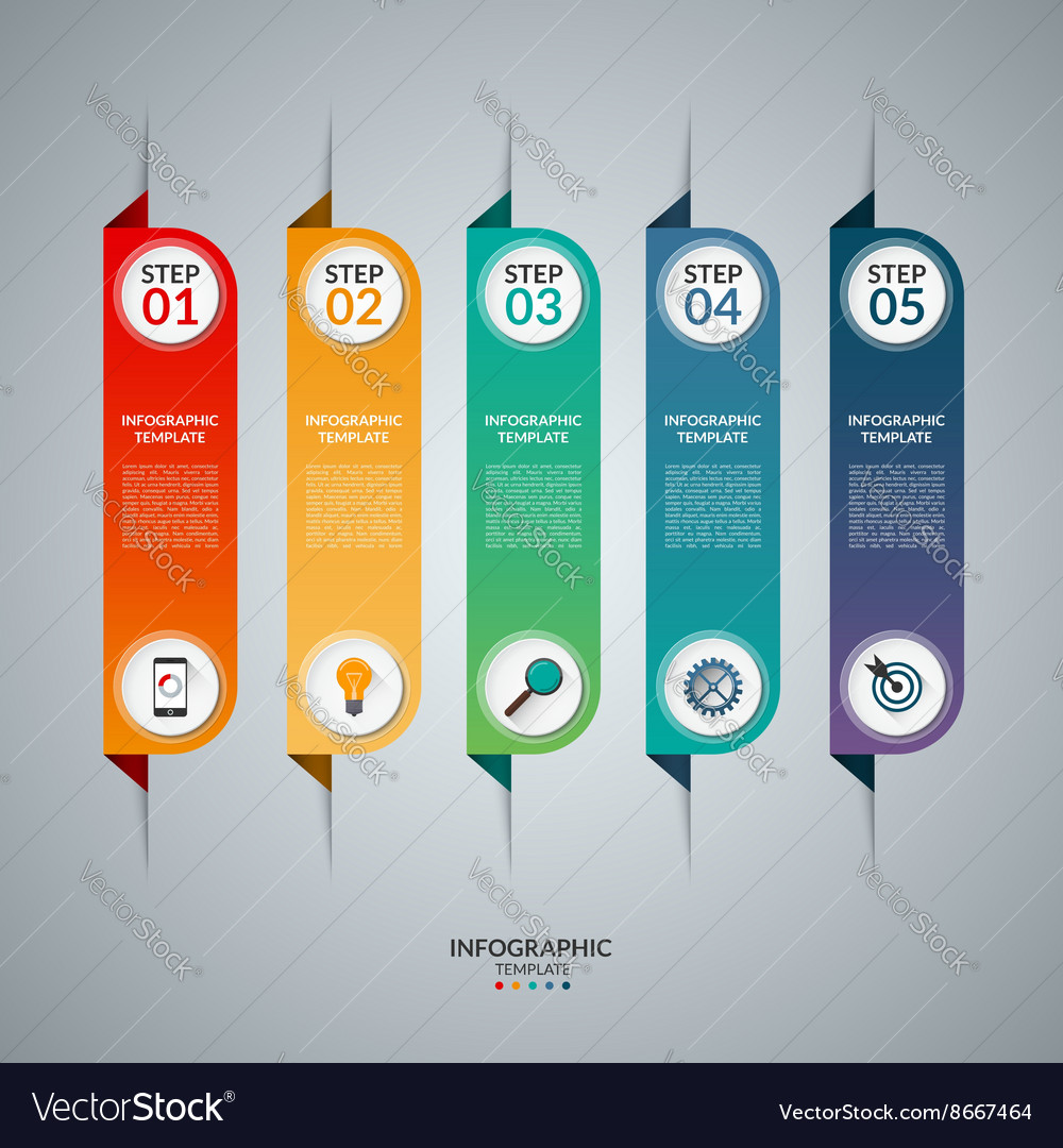 Infographic concept with 5 vertical tabs vector