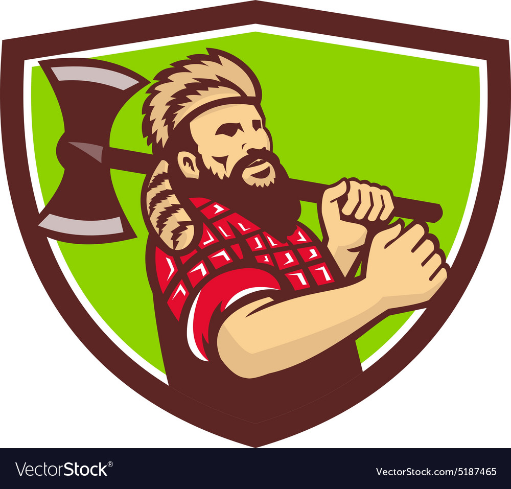 Lumberjack axe shield retro vector