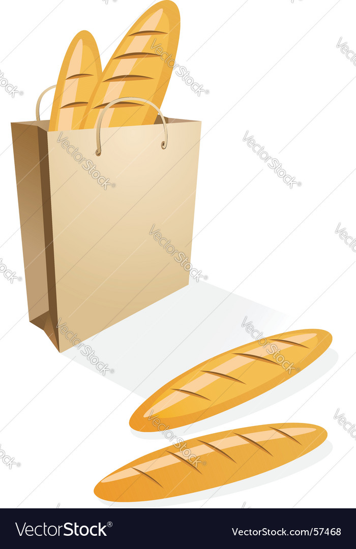 Shopping bag with bread vector