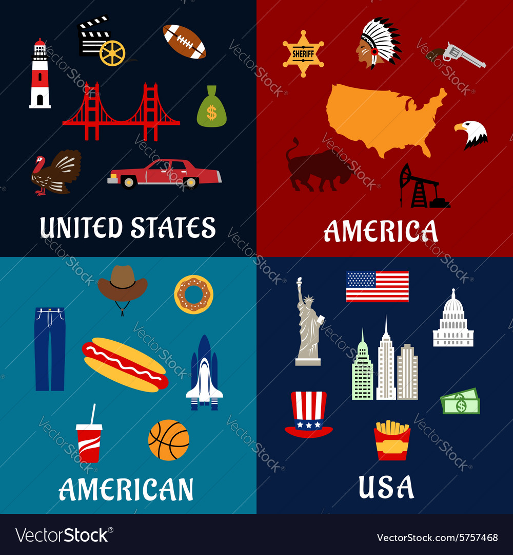 Usa travel and american flat icons vector