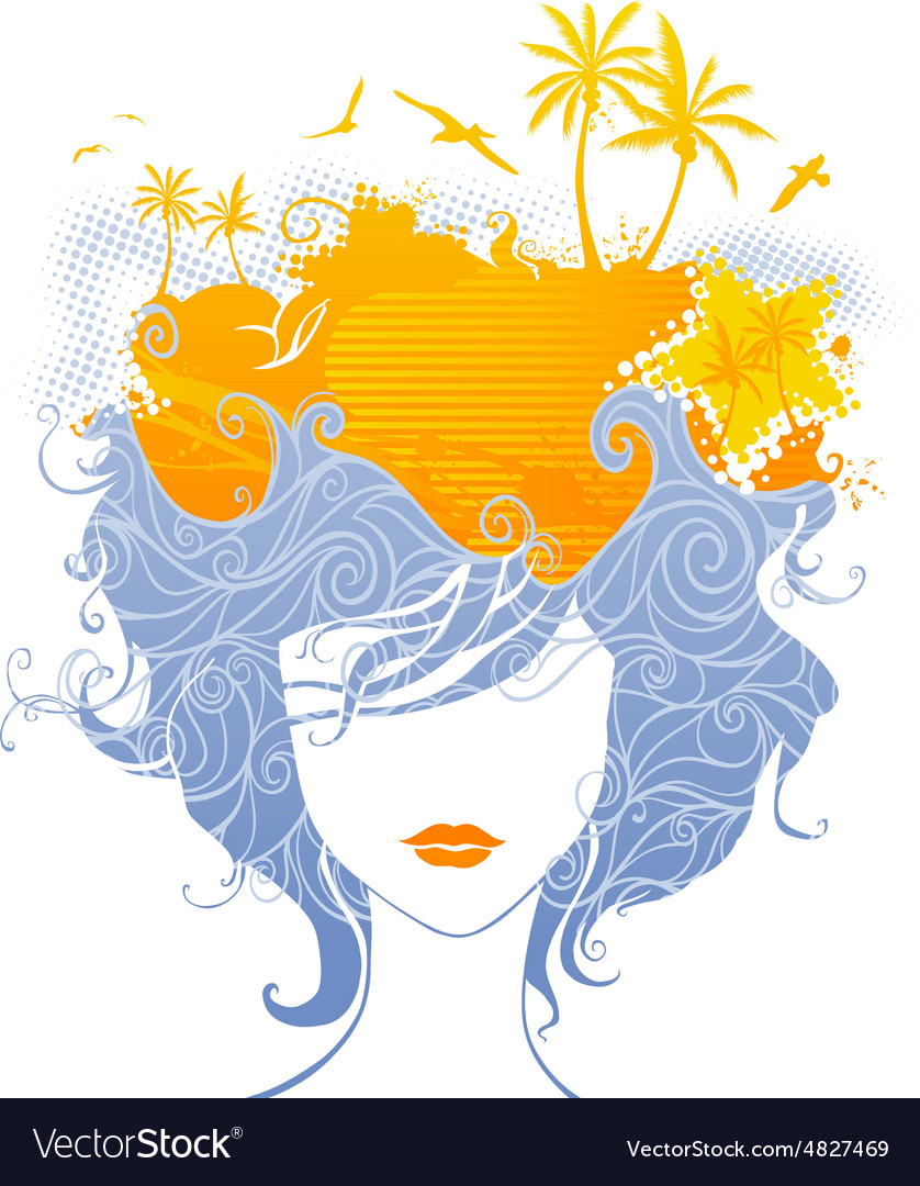 Abstract tropical woman vector
