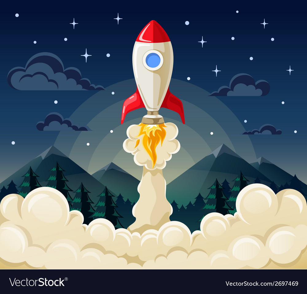 Concept of rocket startup in flat style vector