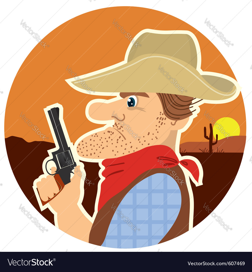 Cowboy with gun vector