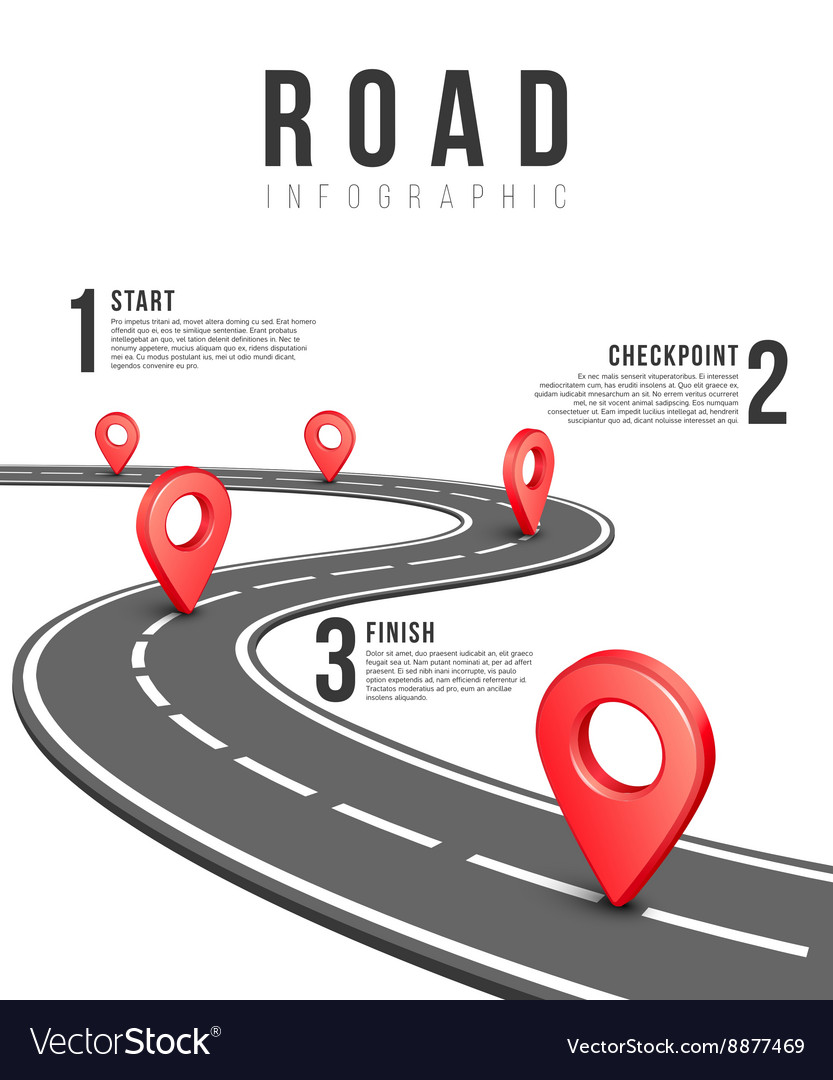 Road infographic template vector