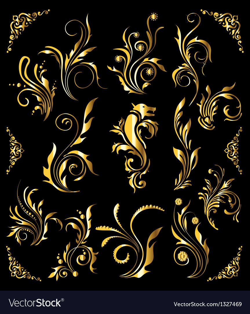 Vintage golden decoration elements vector