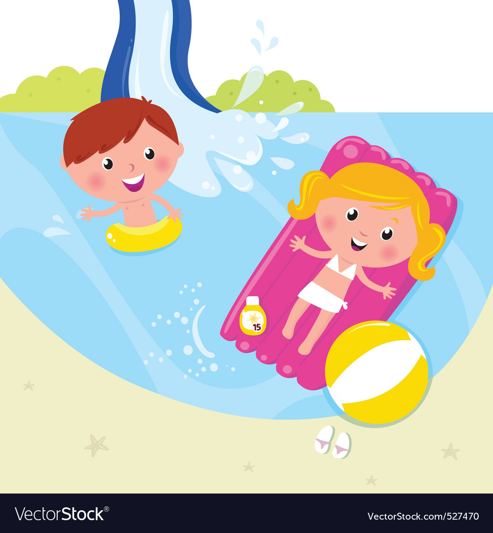Children in swimming pool vector