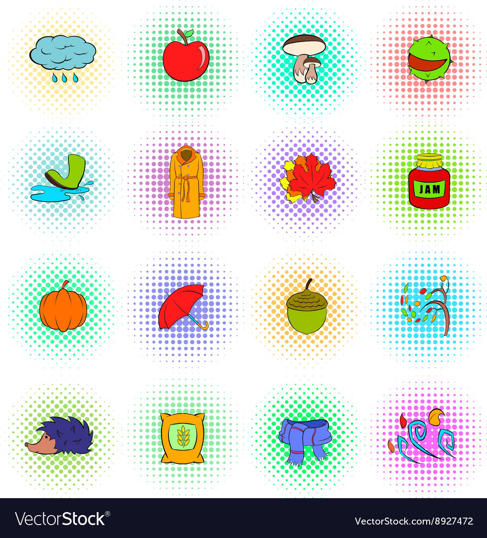 Autumn icons set popart style vector