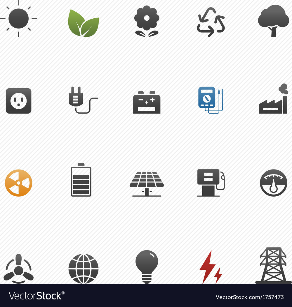 Environment and power symbol icon set vector