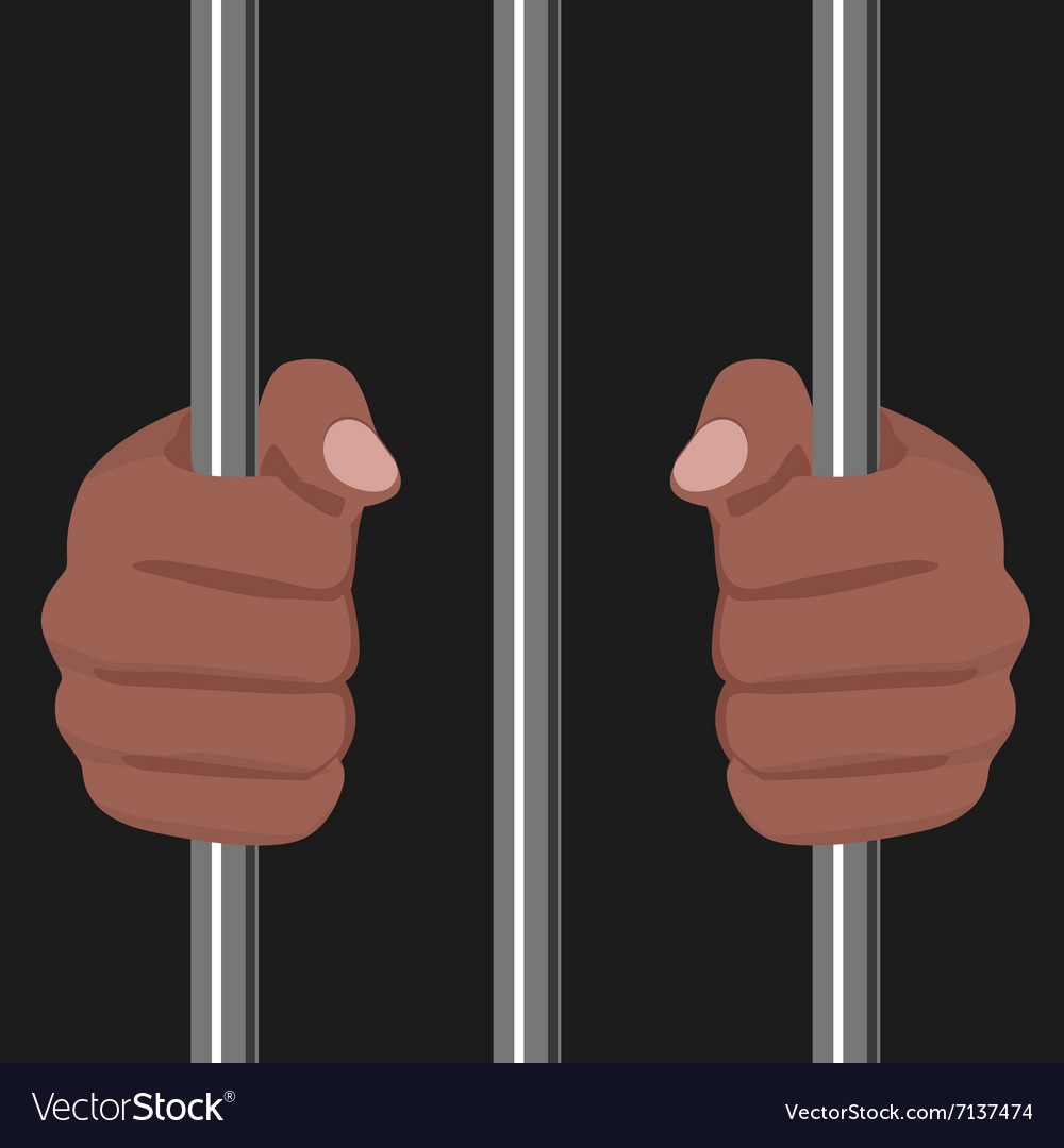 African american locked behind bars vector