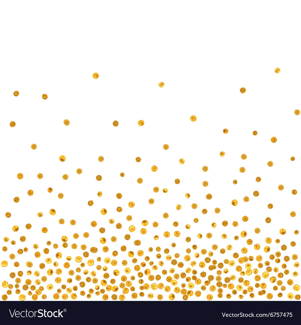 Abstract pattern of random falling golden dots vector