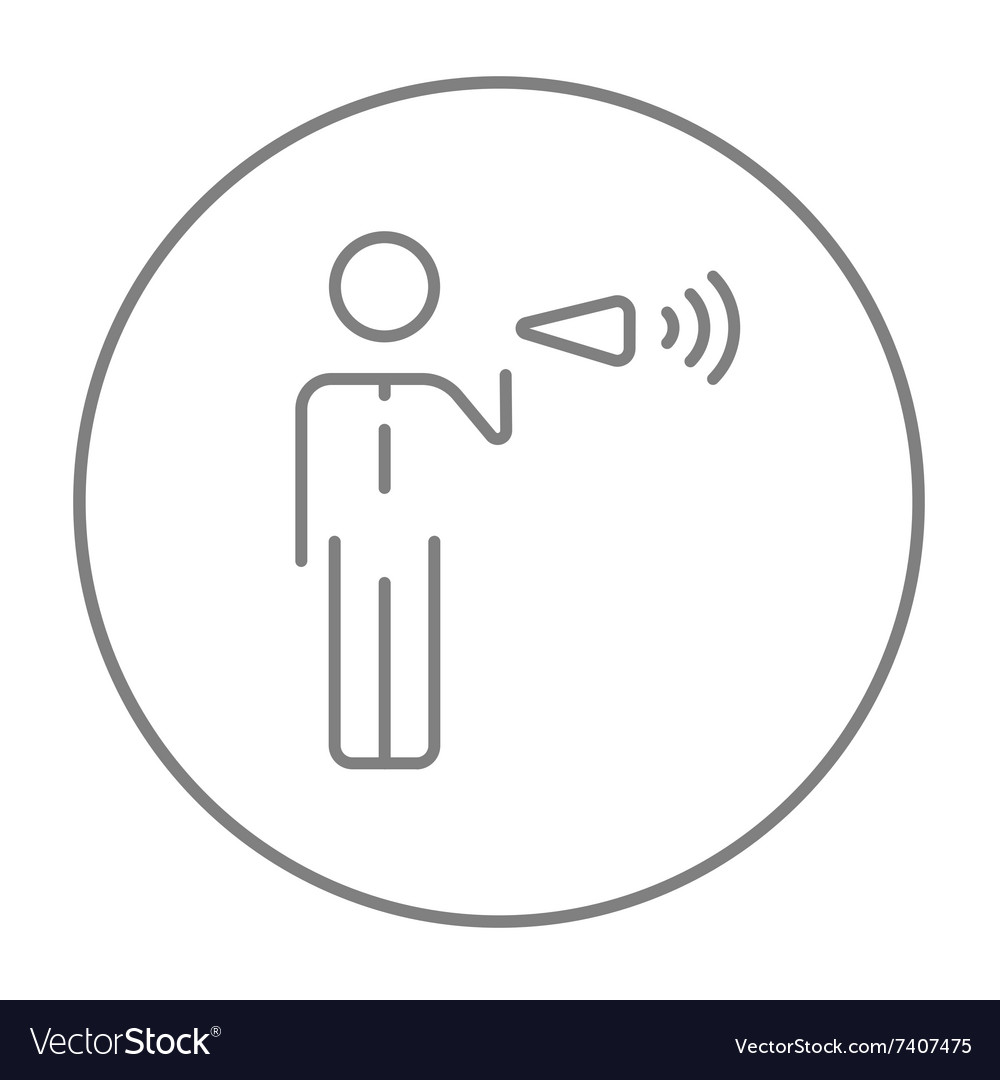 Businessman with megaphone line icon vector