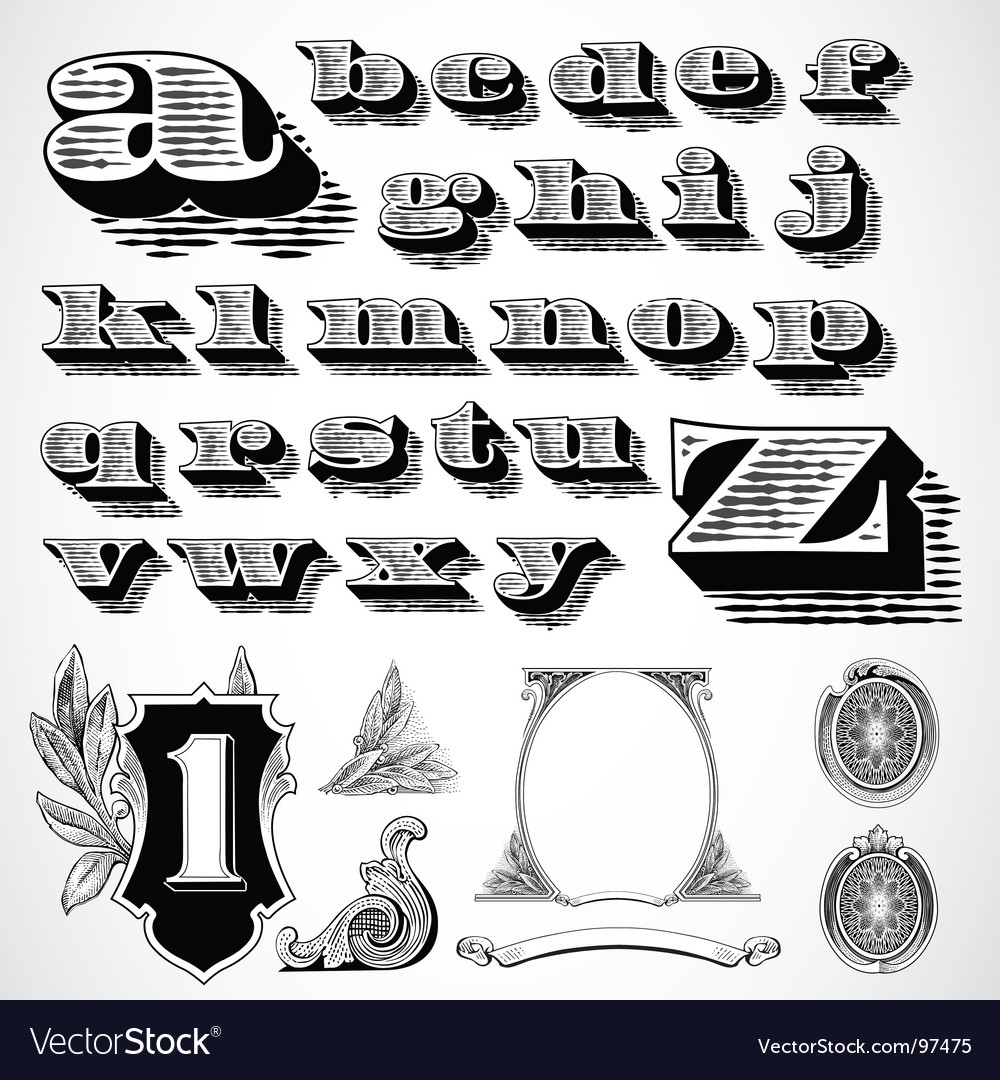 Decorative font vector