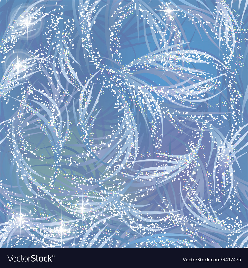 Snowy gleaming frozen pattern on blue window vector
