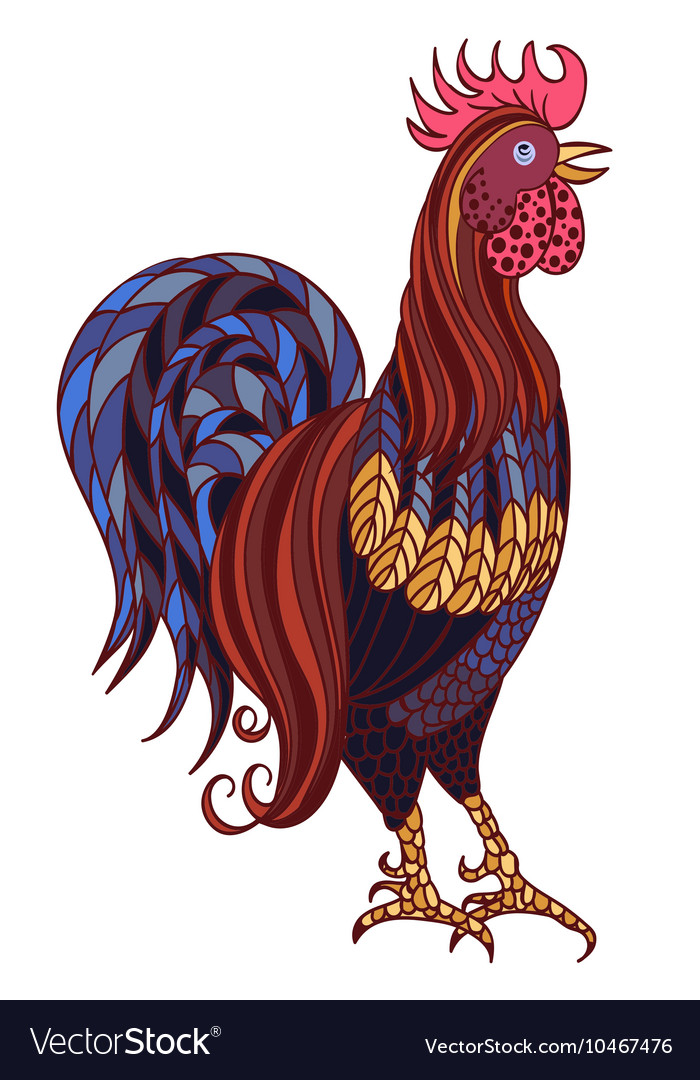 Decorative stylized handdrawn rooster isolated on vector
