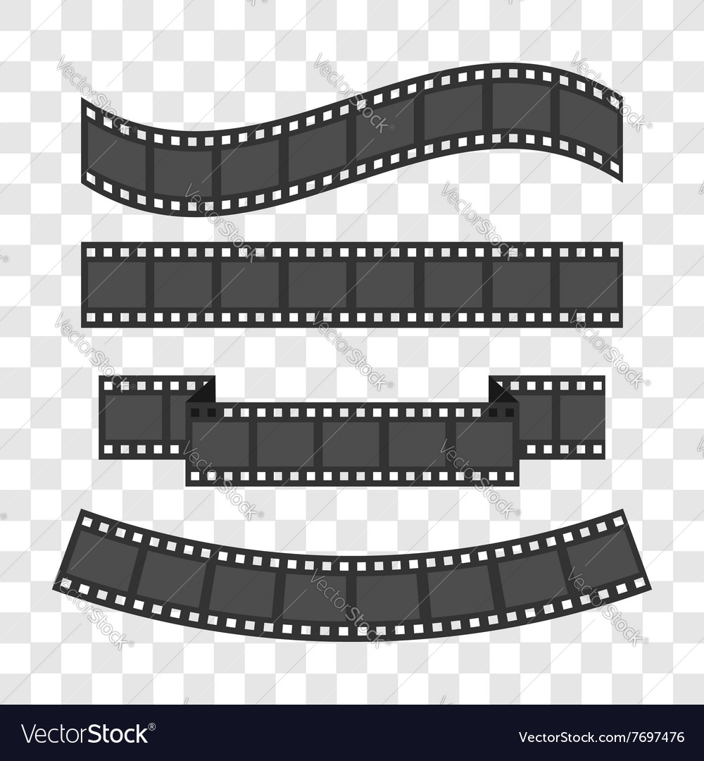 Film strip frame set different shape ribbon design vector