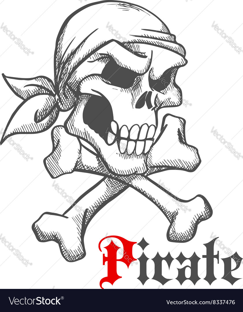 Pirate skull in bandana with crossbones sketch vector