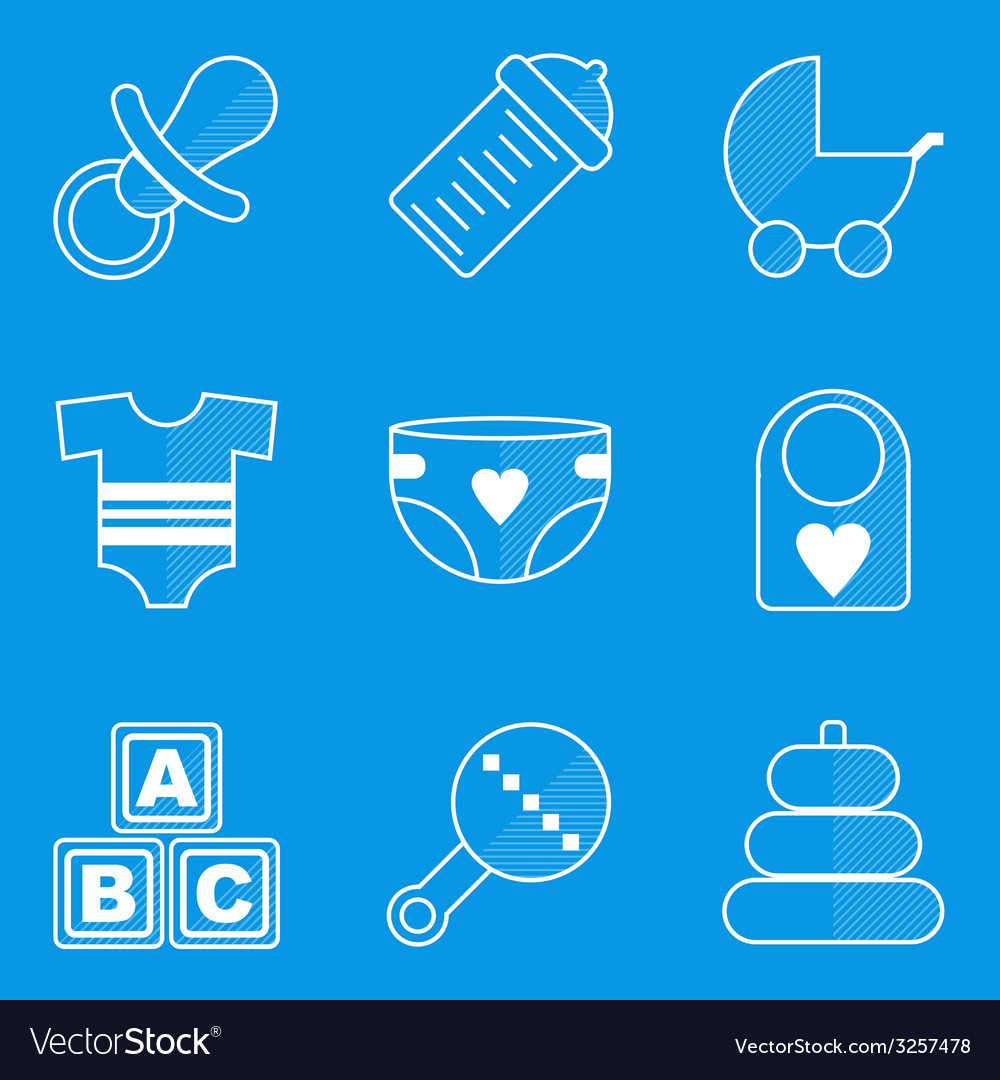 Blueprint icon set baby children family vector