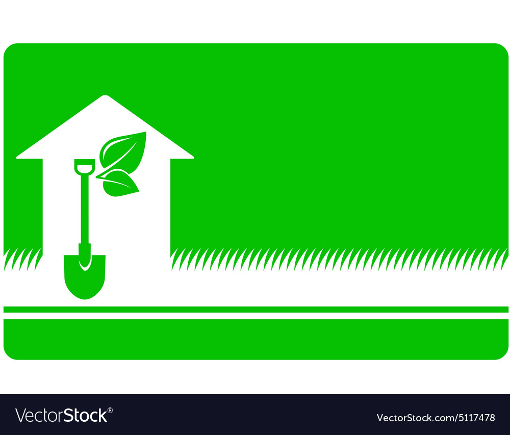 Green landscaping business card vector